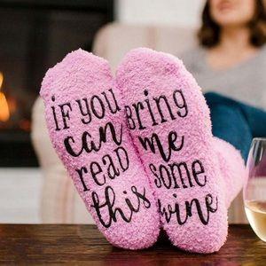 'Bring Me Some Wine' Fuzzy Pink Socks